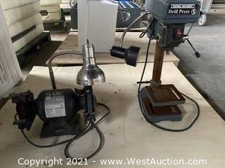 Bench grinder and drill press