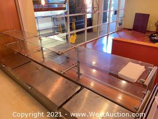 (2) Sneeze Guards With (5) Sections & Glass Display Shelves