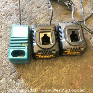 (3) Dewalt And Makita Battery Charger