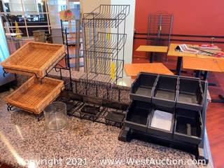 Assorted Condiment Bins & Small Wire Racks (5)