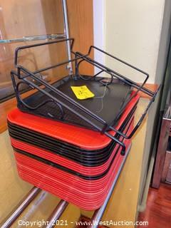 Cafeteria Trays (25+) & Tray Rack
