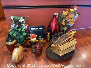 Assorted Decorative Vases, Faux Flowers, & Wicker Baskets
