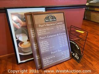 Framed Coffee Menus & Display Rack