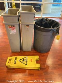 (5) Assorted Trash Bins And (2) Caution A-frames