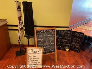 Menu Chalkboards, A-frame, Dry Erase Board & Flag Displays