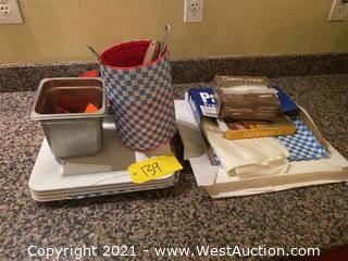Assorted Trays, Kitchen Ware, And Food Wrapping