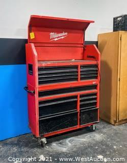 """Milwaukee 46"""" 16-Drawer Steel Tool Chest and Rolling Cabinet Set With Contents"""