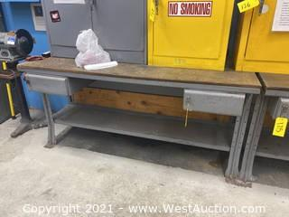 Equipto Metal Work Table With Wood Top