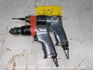 "(2) Campbell Hausfeld 3/8"" Air Powered Drills"