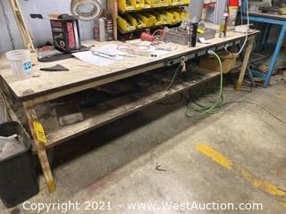 Steel Work Table With Built In Power (Table Only)