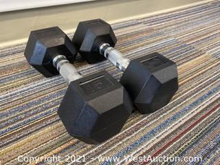 (2) Muscle-D 15lb Dumbbells