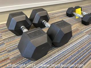 (2) Muscle-D 50lb Dumbbells