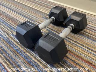 (2) Muscle-D 10lb Dumbbells