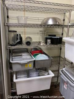 Contents Of Rack; Blender, Plastic Bins, And More