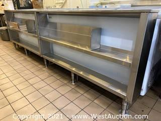"""Stainless Steel Prep Counter 7"""" x 120"""" With Storage"""