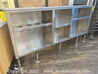 """Stainless Steel Prep Counter 9"""" x 78"""" With Storage"""