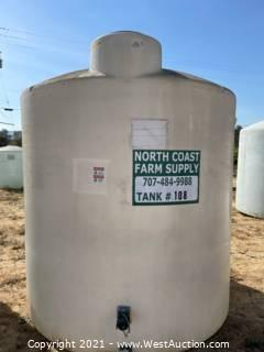 """3,000 Gallon Heavy Duty Vertical Field Storage Tanks With 2-2"""" Ball Valves"""