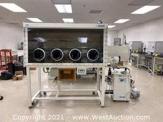MBraun MB200B Laboratory Glove Box with MB10 Compact System and Edwards RV12 Two Stage Rotary Vane Pump