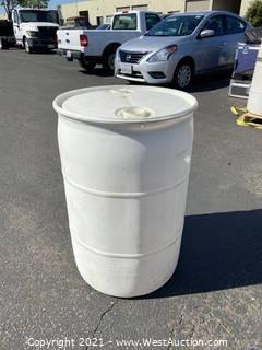 White 55 Gallon Drum